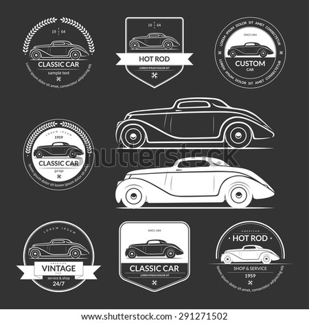 Set of hot rod, classic, vintage car service labels, emblems, logos, badges. White vector design elements isolated on dark background - stock vector