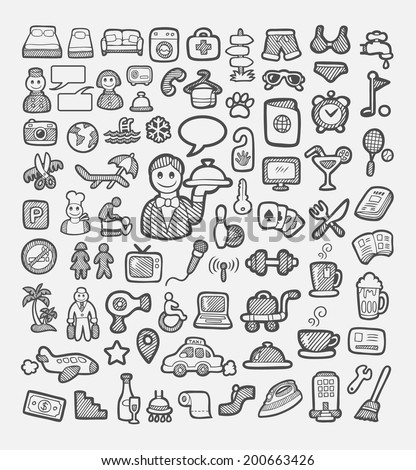 Set of hotel icons sketch. Good use for your website icons, symbol, sticker design, element, or any design you want. Easy to use, edit, or change color. Each object is a group - stock vector