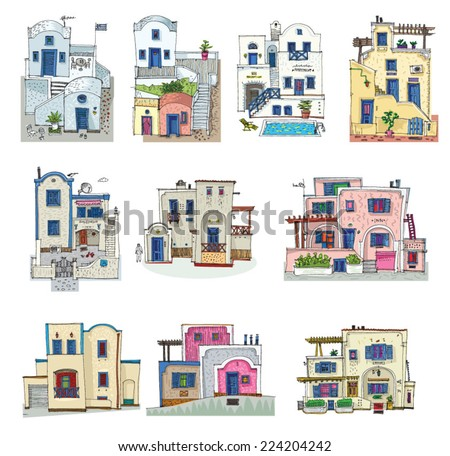 set of hotels on Santorini island, Greece - cartoon - stock vector