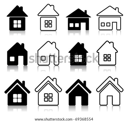 Set of 12 house icon - stock vector