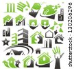 Set of house icons, symbols and signs. Vector collection of creative concepts for home services or real estate business. - stock photo
