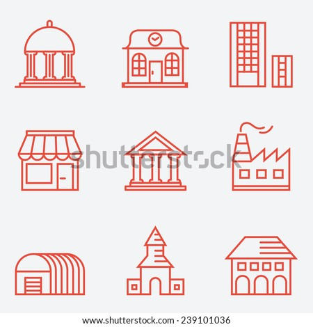 Set of house icons, thin line style, flat design - stock vector