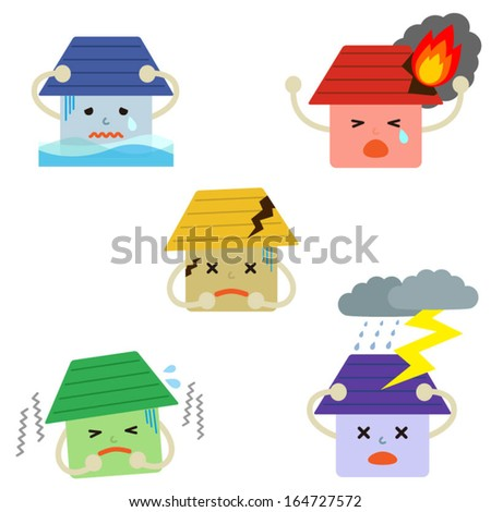Set of house insurance icons. Vector EPS 10 illustration  - stock vector