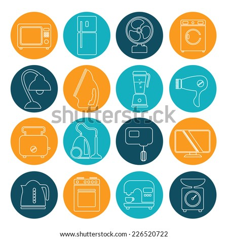 set of household appliances contour icons on colorful round web buttons with a washing machine stove fridge lamp kettle coffee machine and toaster - stock vector