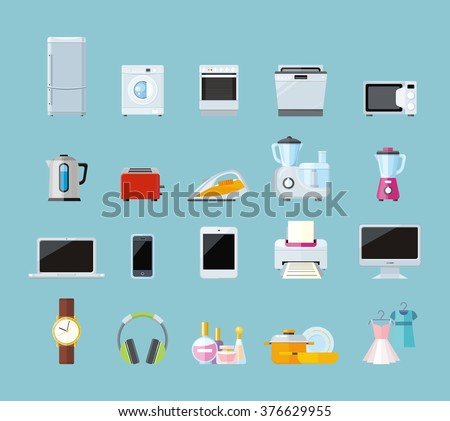 Set household appliances design flat appliances stock for Household appliances design