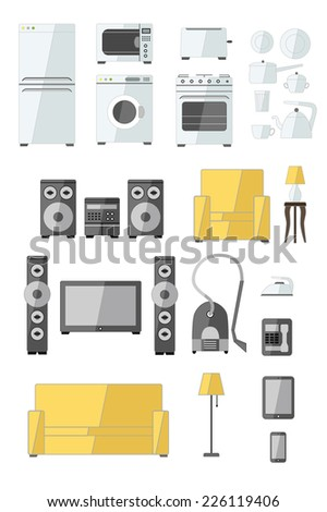 Set of household appliances flat colorful icons with a washing machine stove fridge speaker iron microwave lamp phone sofa television kettle and toaster - stock vector
