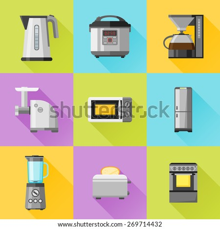 Set of household appliances flat icons. Coffee maker, kettle, multicooker, microwave oven, refrigerator, stove, meat grinder, blender, toaster - stock vector