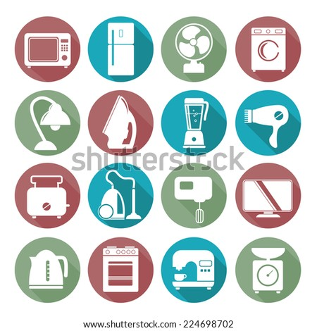 set of household appliances flat icons on colorful round web buttons with a washing machine stove fridge lamp kettle coffee machine and toaster - stock vector