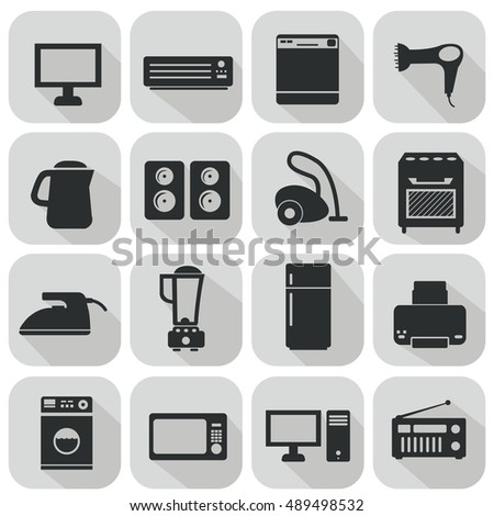 Set of household appliances flat icons vector illustration.