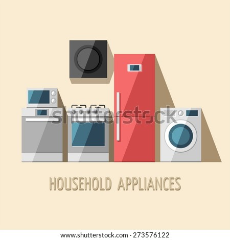 Set of household appliances. Home appliances. Kitchen equipment. Vector flat illustration. - stock vector
