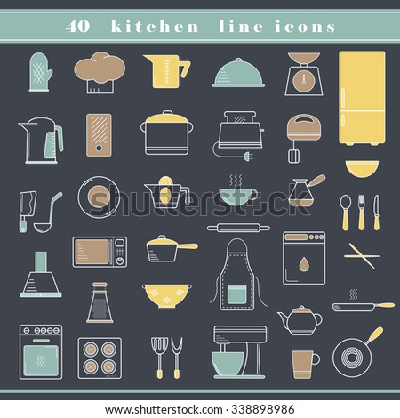 Set of household appliances, kitchen and restaurant accessories, equipment, cooking utensils, cutlery tools, kitchenware and cookware outline thin line icons for food preparation. Flat design - stock vector