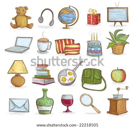 set of household objects - stock vector
