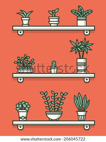Set of houseplants in pots on shelves. Vector illustration. - stock vector