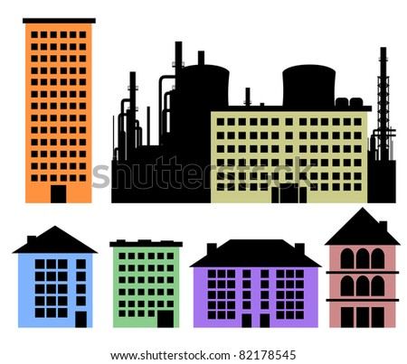 Set of houses and factory vector background for your design - stock vector