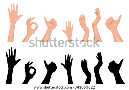 Set of human hands. - stock vector