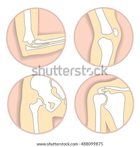 Set Human Joints Elbow Knee Joint Stock Vector 2018 488099875