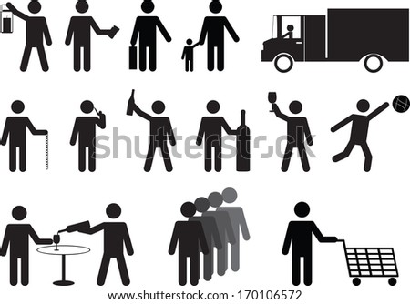 Set of human pictograms activities illustrated on white background - stock vector