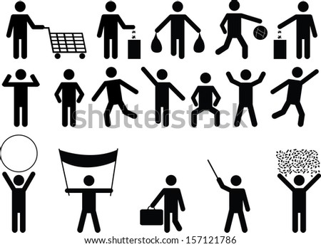 Set of human pictograms with different objects and activity  illustrated on white background  - stock vector