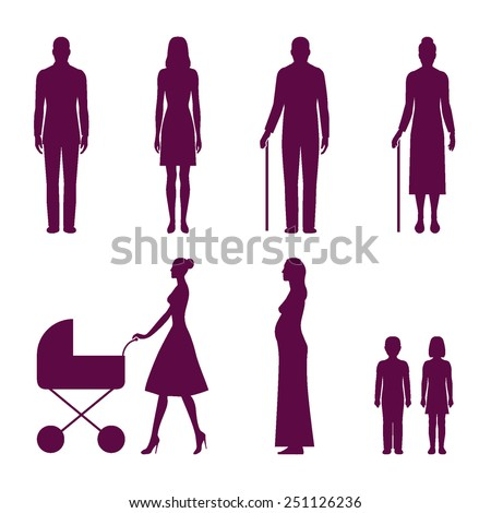 Set of human silhouettes: young man, young woman, old man, old woman, mom walking with baby carriage, pregnant woman, boy, girl. Vector illustration infographic elements isolated on white background - stock vector