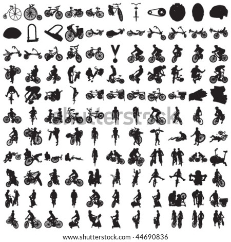 Set of Hundred BIKE and BIKER Silhouettes - stock vector