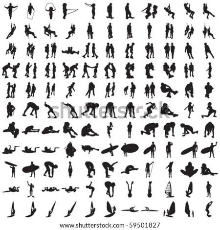 Set of Hundred Sports Silhouettes 1