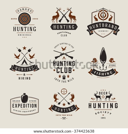 Set hunting fishing labels badges logos stock vector for Hunting and fishing logos