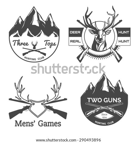 Set of  hunting labels and design elements. - stock vector