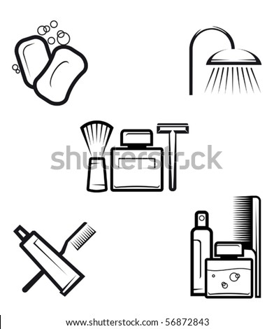Set of hygiene objects - also as emblem or logo template. Jpeg version also available - stock vector