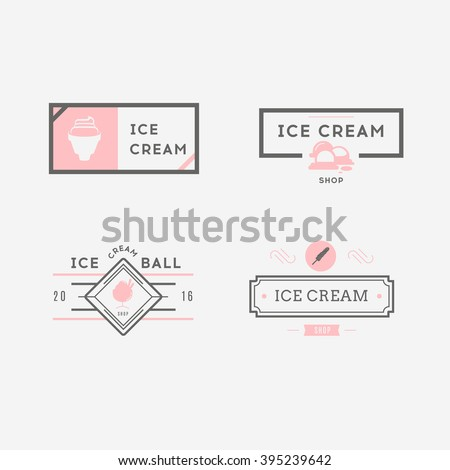 Set of ice-cream shop labels, logotypes and design elements. ?ollection of different ice cream elements. Ice cream objects. Vector elements for design. Ice cream silhouettes. - stock vector