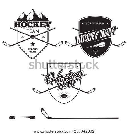 Set of ice hockey teams logos, badges and design elements - stock vector