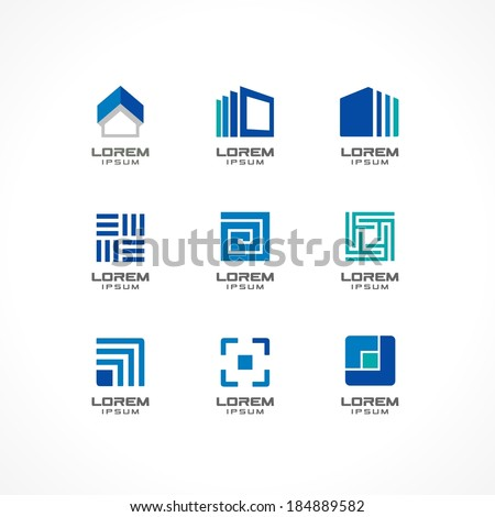 Set of icon design elements. Abstract logo ideas for business company. Building, construction, house, connection, technology concepts for corporate identity template. Stock Illustratio. Vector - stock vector