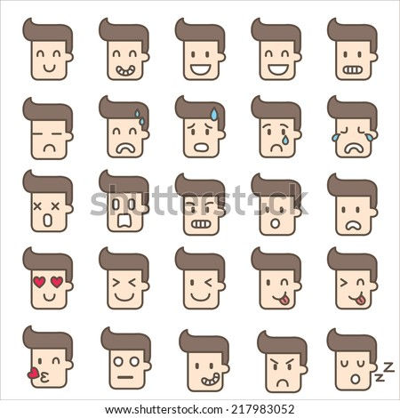 set of  icon emotion man - stock vector