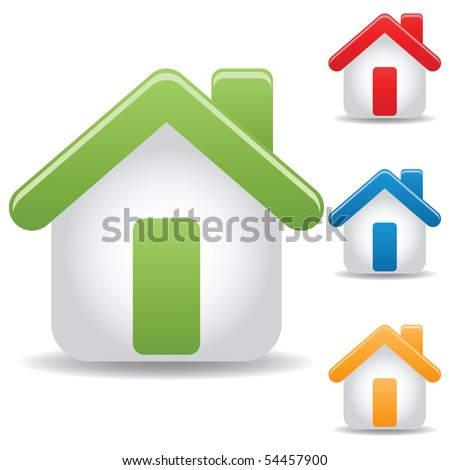 set of icon home, vector illustration - stock vector