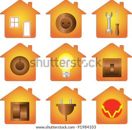 set of icon isolated with electrical equipment on house silhouette