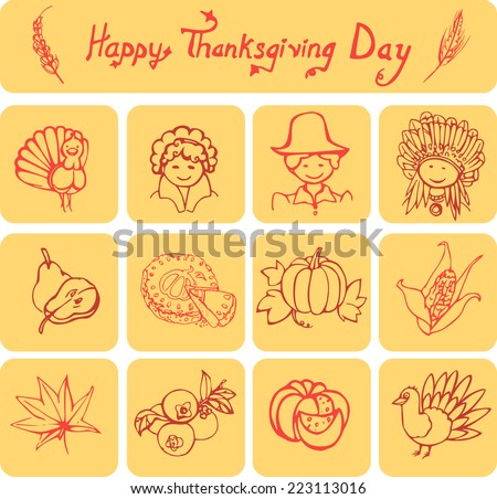 Set of 12 icons and a simple linear header on Thanksgiving/Happy Thanksgiving Day linear icons - stock vector