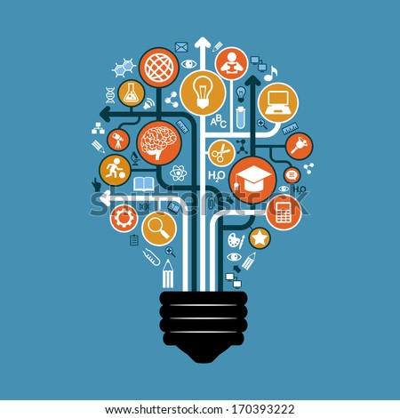 Set of icons and arrows on education form a light bulb. The concept of effective modern training. Background vector illustration - stock vector