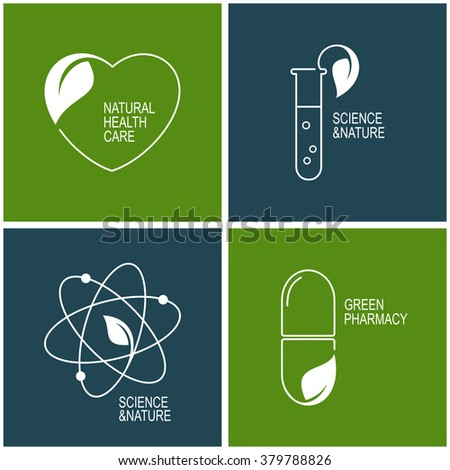 Set of icons and emblems for green pharmacy, natural health care and herbal medicine