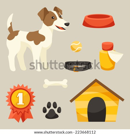 Set of icons and objects with cute dog. - stock vector