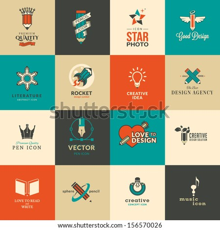 Set of icons and stickers for art and education - stock vector