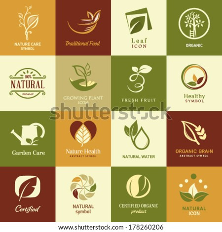 Set of icons and symbols  for nature health and organic - stock vector