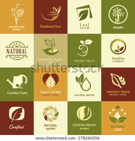 Set Icons Food Drink Restaurants Organic Stock Vector ...