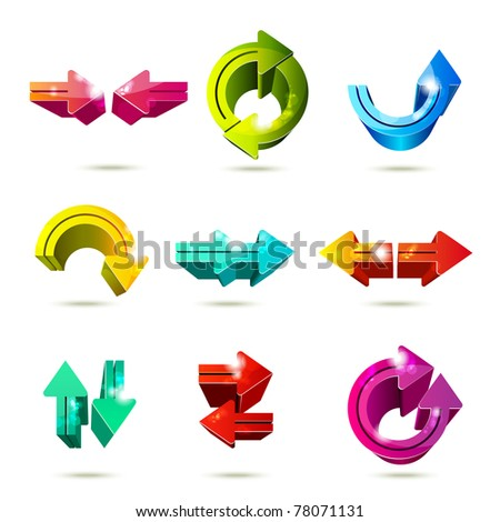 Set of icons. Color arrows isolated on white background