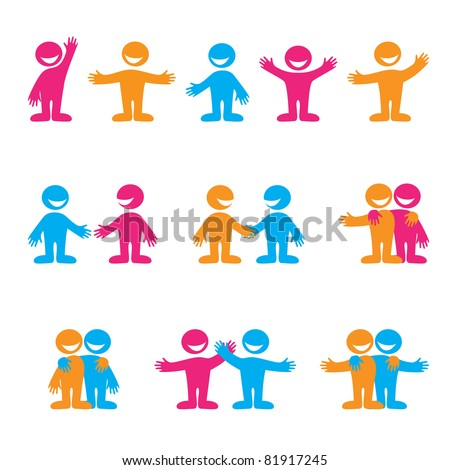 Set of icons - communication. Greetings, negotiation, friendship. Vector collection.