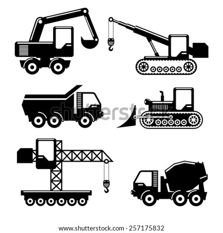 Set of icons construction. Crane and tractor, excavator, crawler and concrete mixer. Vector illustration - stock vector