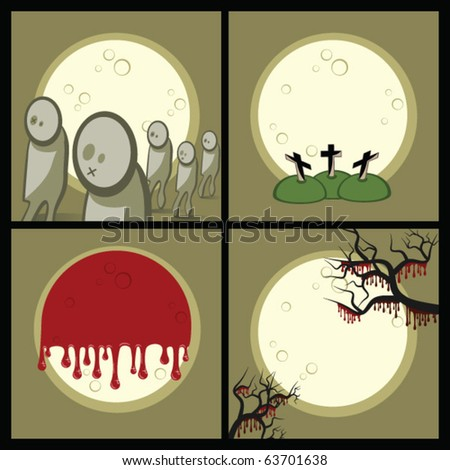 Set of icons (decorative elements). Halloween. Gloomy night. A full moon. On a cemetery zombies wander. - stock vector