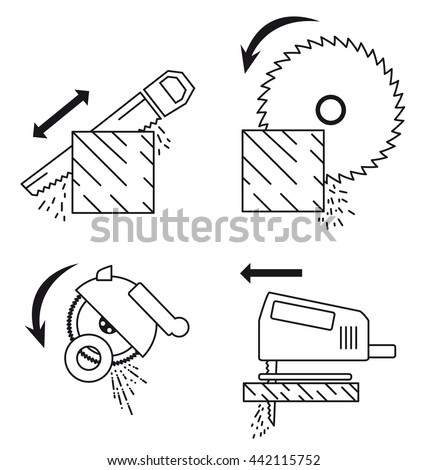 Set of icons depicting principle of work with saw tools. Saw tools set: hand saw, circular saw, fretsaw, Angle machine (Cutting machine).