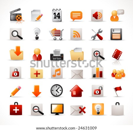 set of 36 icons (easy editable, no transparencies) - stock vector