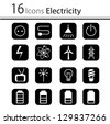 Set of icons electricity (vector) - stock vector