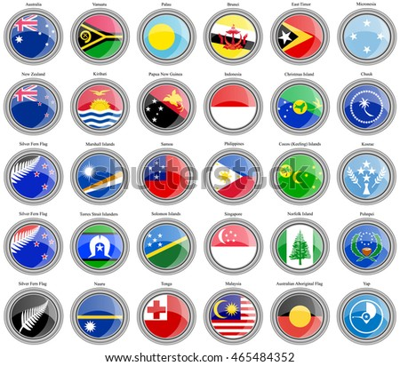Set of icons. Flags of Australia and Oceania.