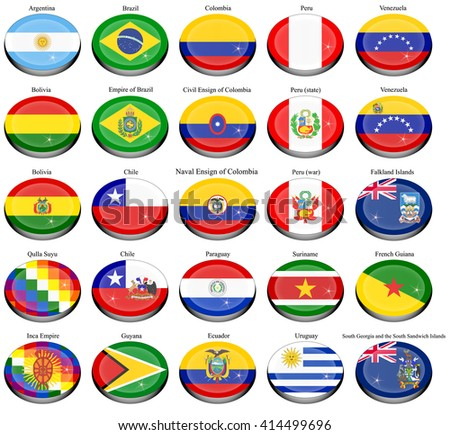 Set of icons. Flags of the South America.